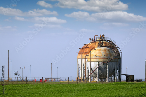 refinery tanks on field oil industry