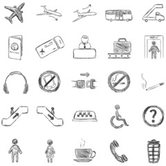 Vector Set of Sketch Airport Icons