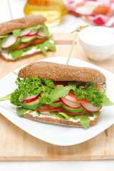sandwich with cottage cheese, greens and vegetables on the plate