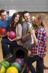 Happy time at the bowling alley