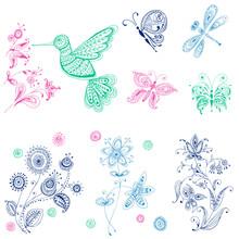 Spring & Summer Doodles - oiseaux, papillons, fleurs
