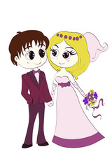 groom and the bride in wedding dresses