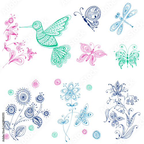 Spring & Summer Doodles - bird, butterflies, flowers