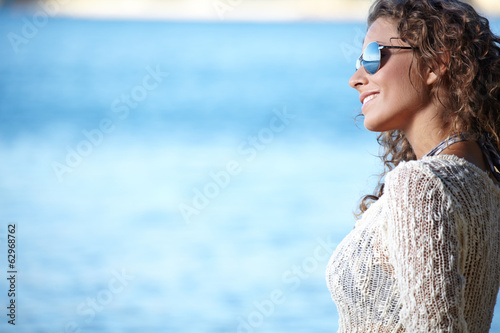 Beautiful woman on the beach.