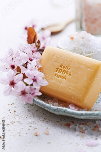 Bar of Natural Soap with Bath Salt