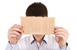 Person showing Blank Cardboard