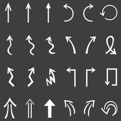 Vector Set of 24 White Arrows