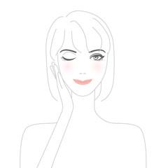 手に顔を添える女性