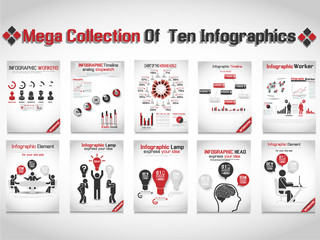 MEGA COLLECTION OF TEN INFOGRAPHIC BUSINESS RED