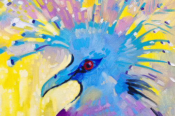 Abstract parrot - original oil painting on canvas