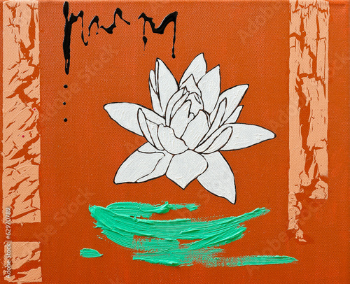 Water lily - original oil painting on canvas