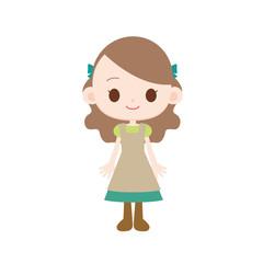 メルヘンの世界の女の子 グリーンのドレス