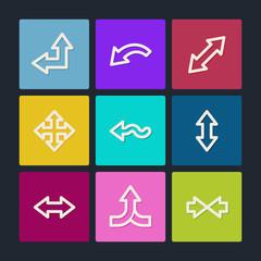 Arrows web icons set 2, color buttons