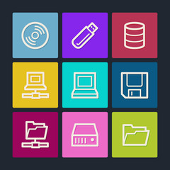 Drives and storage web icons, color buttons
