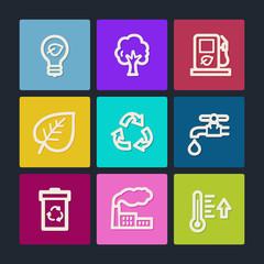 Ecology web icons set 1, color buttons