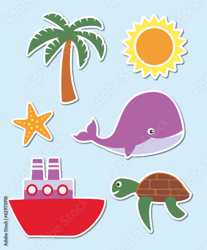 Set of summer and holiday symbols