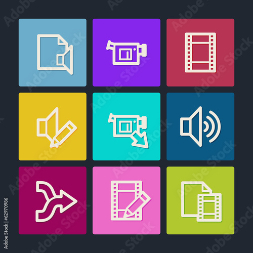 Audio video edit  web icons, color buttons
