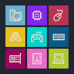 Computer web icons, color buttons