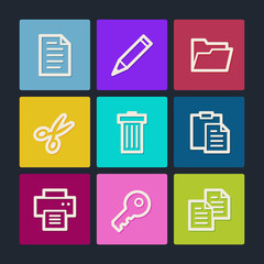 Document web icons set 1, color buttons