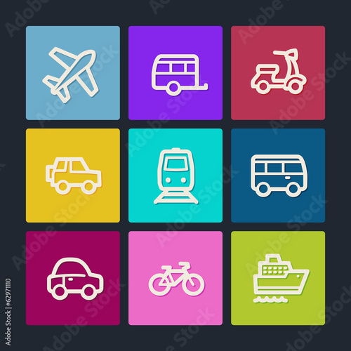 Transport web icons, color buttons
