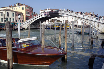 Water taxi by Rialto Bridge in Venice