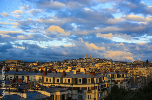 Paris at Sunset, aerial view