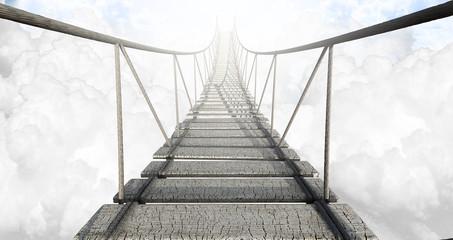 fototapeta most linowy nad chmurami