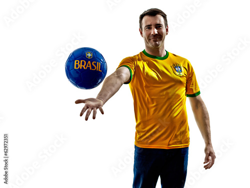 caucasian man brazilian brazil throwing giving soccer ball