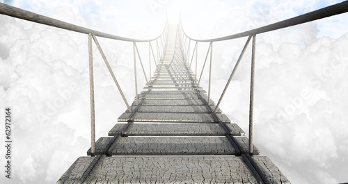 Fotobehang Brug Rope Bridge Above The Clouds