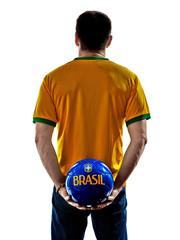 caucasian man brazilian brazil holding soccer ball