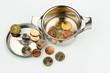 Ein Kochtopf mit wenigen Euromünzen, Symbolfoto für Finanzkrise
