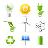 Energy and Ecology Realistic Icons Set poster