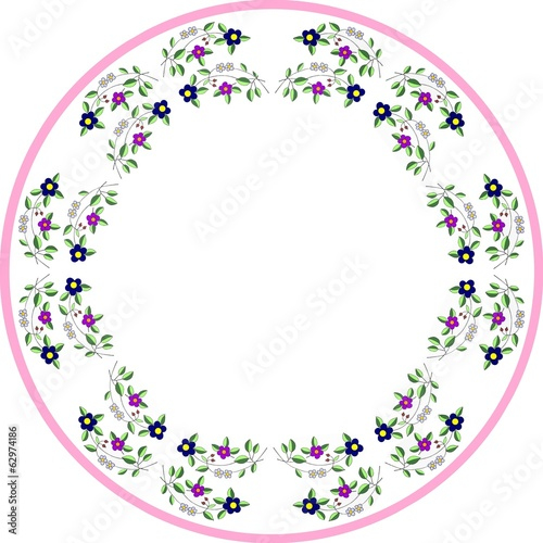 pattern for round tablecloth with drawn flowers