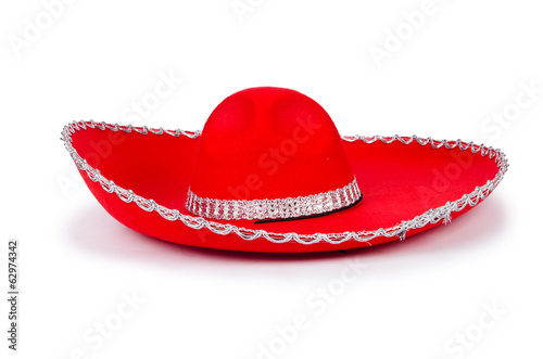 Red mexixan sombrero hat isolated on white