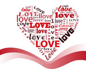 cuore astratto su sfondo bianco