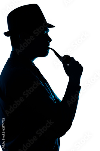 Silhouette of Man Smoking Pipe on a White Background