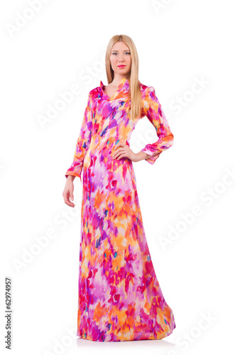 Woman in lond dress isolated on white