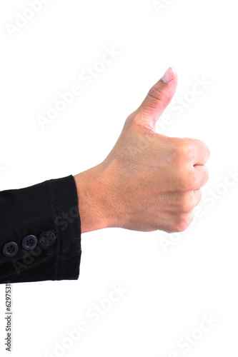 Closeup of Business Man hand showing thumbs up