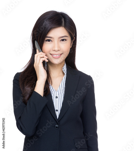 Asia business woman using mobile