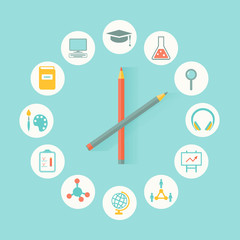 School and Education Icons. Clock Shape. Infographics Design
