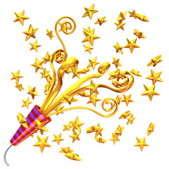 Golden Party Popper And Some Stars