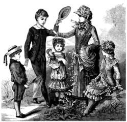 5 elegant Children - end 19th century
