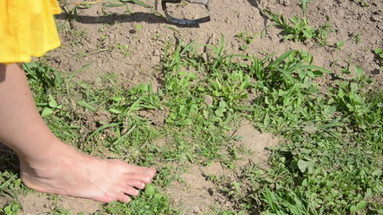 Closeup of barefoot farmer girl grub weeds in garden hoe tool