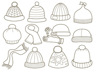 collection of fashionable caps (vector illustration)