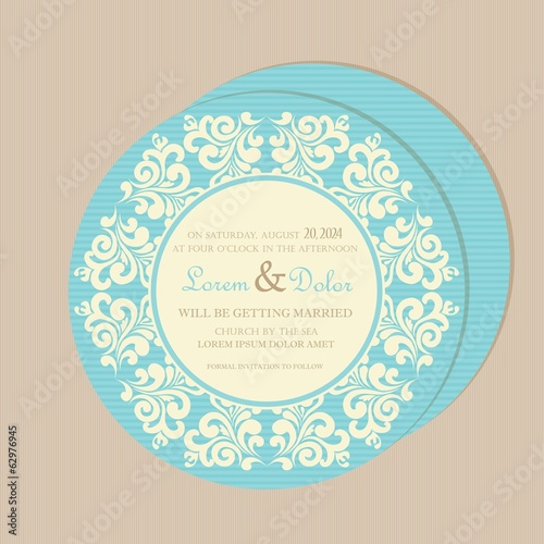 Round, double-sided vintage wedding invitation