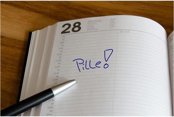 Erinnerung an die Pille im Kalender