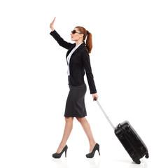Businesswoman waving hand.