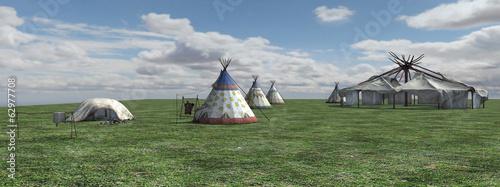 Leinwandbild Motiv Native American Village