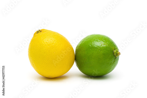 lemon and lime closeup on a white background.