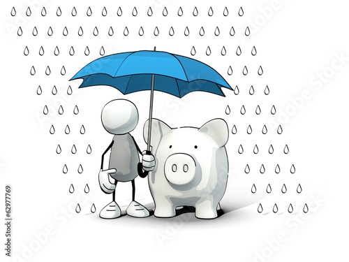 little sketchy man protecting a piggy bank with an umbrella